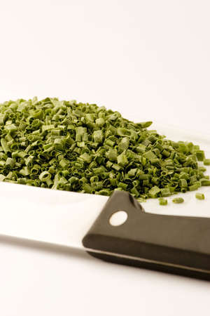 freeze dried: Freeze dried chives on a plate against a white background, Studio shot.