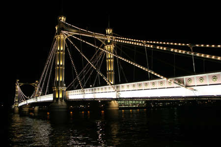 A view of The Albert Bridge at night in London.