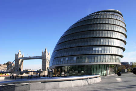 The G.L.A Building and Tower Bridge, London. Stock Photo - 701999