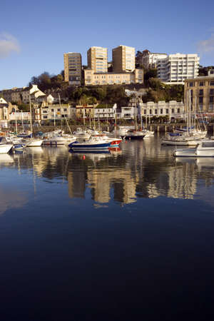 The harbour with boats in Torquay in Devon. Stock Photo