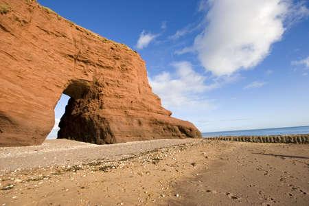 The Red rock on the coast of Dawlish, Devon.