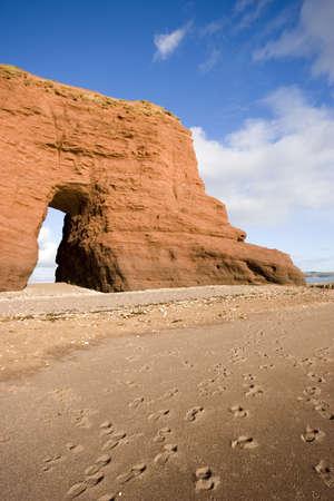 devon: The Red rock on the coast of Dawlish, Devon.