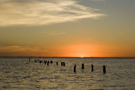 A sunset over the sea in Isla Mujeres, Mexico Stock Photo - 808505