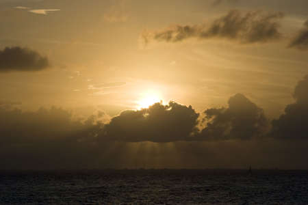 A sunset over the sea in Isla Mujeres, Mexico Stock Photo - 808524