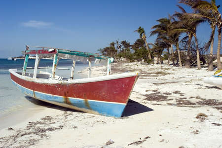mujeres: Fishing boat and Palm trees on a beach in Isla mujeres mexico