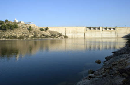 A Dam on a lake in Murcia, Spain.