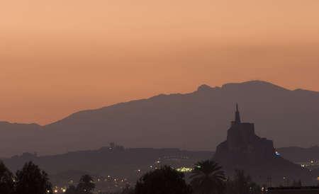 Monteagudo statue and castle in Murcia, Spain.
