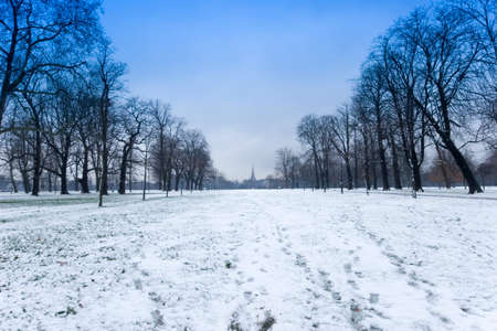 A winter scene of Hyde Park in London. Stock Photo