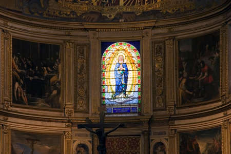 camposanto: Stained Glass Window at Duomo in Cathedral Square at Pisa in Italy