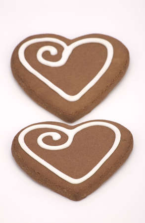 Love heart Cookies isolated on a White Background. photo