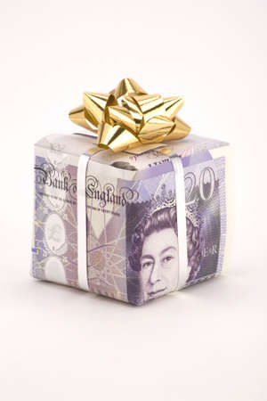 A gift box of a Twenty pound note with bow. Stock Photo - 2457605