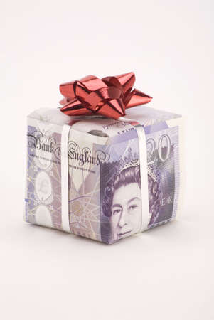 A gift box of a Twenty pound note with bow.