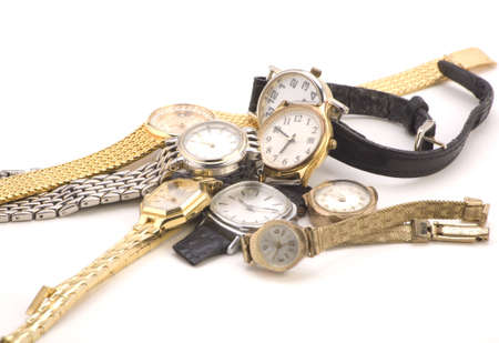wristlet: Multiple Wrist watches isolated on a white background.