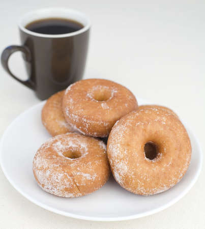 Donuts with coffee on a Linen background. Stock Photo - 2555349