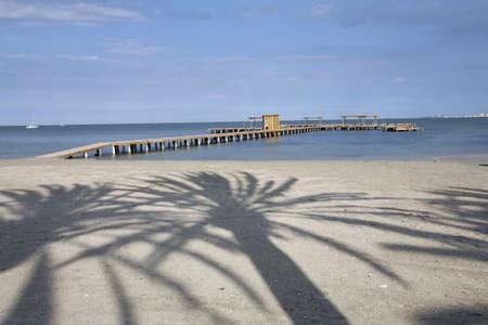 Palm tree shadow on Santiago del la ribera beach, Murcia. Spain, Stock Photo