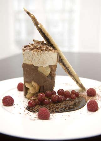 Un estilo de helado de chocolate con salsa en un plato blanco. Foto de archivo - 3399369