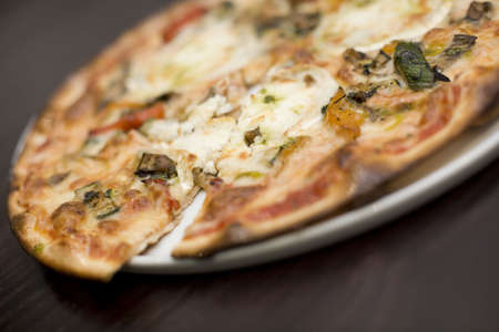european cuisine: A Turkish style Goats cheese and roasted vegatable pizza  Stock Photo