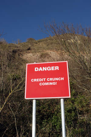 financial cliff: Cliff Danger sign stating financial warning