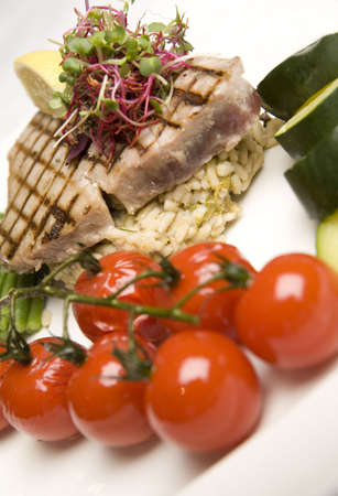 Grilled Tuna & Cherry Tomato salad with courgette. photo