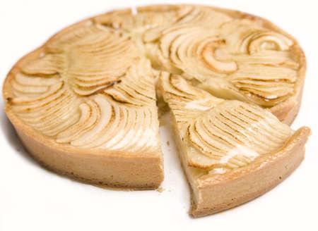 szarlotka: Jabłko kołowe z plasterka wycięty izolowane.