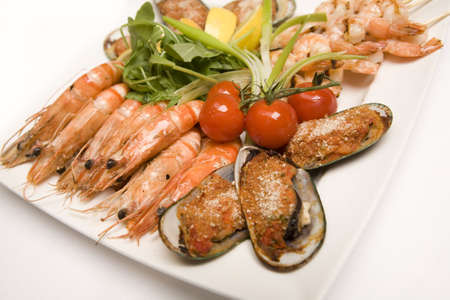 A Sea food platter with salad on a plate Stock Photo - 6080984