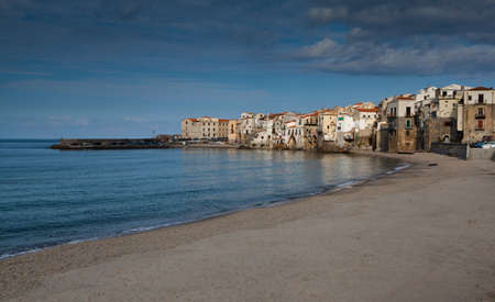 A seascape of the historic town of cefalu in Sicily  Stock Photo - 18811380