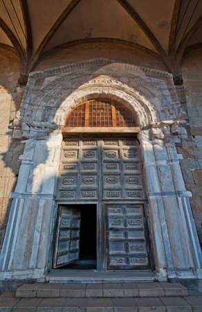 The main door of The Cathedral-Basilica of Cefalu  Stock Photo