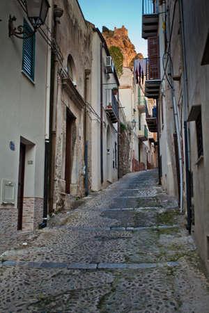 A narrow Cefalu street in Sicily
