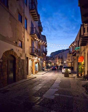 Street Scene in cefalu, Sicily  Stock Photo