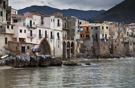 A seascape of the historic town of cefalu in Sicily  Stock Photo - 18811873