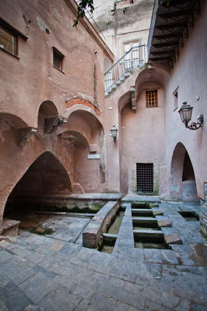 The Ancient Roman baths of Cefalu in Sicily  Stock Photo