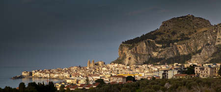 A seascape of the historic town of cefalu in Sicily Stock Photo - 18811144