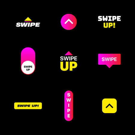 Swipe Up. Set of Swipe Icons. Digital Gradient Swipe Buttons For Stories Design. Social Media Vector Illustration On Black Background  イラスト・ベクター素材