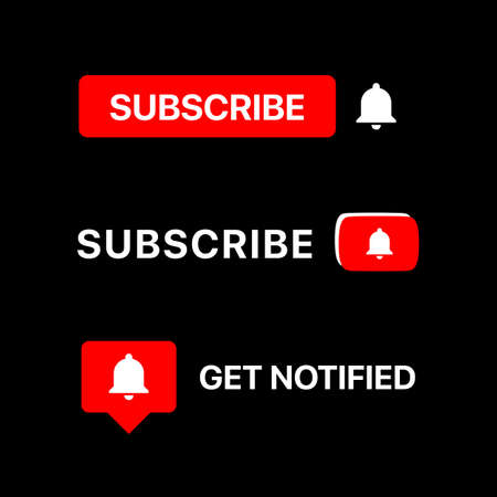 Subscribe Button Set. Vector Illustration On Black Background