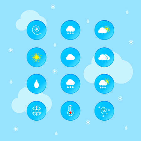 Weather Forecast Icon Set Vector Illustration  イラスト・ベクター素材
