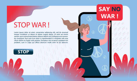 No War Banner Hand Drawn Illustration