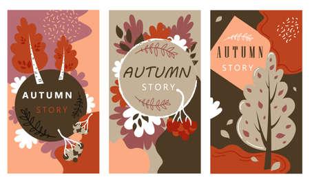 Autumn Sale Stories Set Hand Drawn Illustration