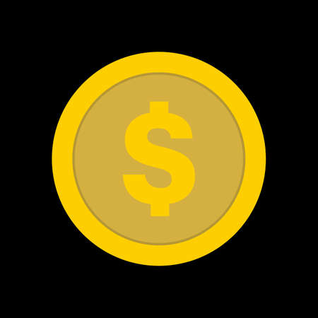 Golden Coin Icon Isolated On Black Background. Blockchain, Gambling, Betting, Casino, Vegas. Vector Finance Element. Vector illustration