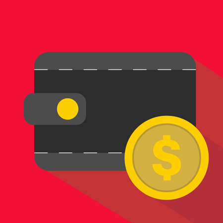 Casino Icons. Wallet And Golden Coin. Gambling, Blockchain. Flat Vector Illustration On Red Background. Vector illustration