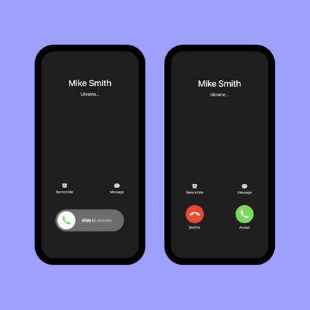 Call Screen Template. Smartphone, Phone Call Screen Vector Mockup On Violet Background. Vector illustration 向量圖像