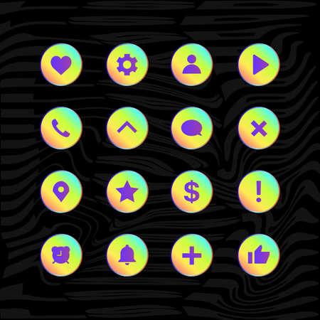 Social Media Vector Icon Set On Black Background. Vector illustration
