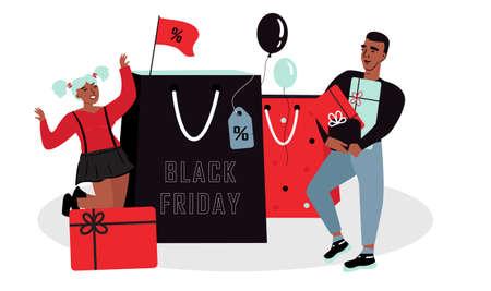 Man and woman buy purchases. Shopping Sale Promotion Illustration Illusztráció