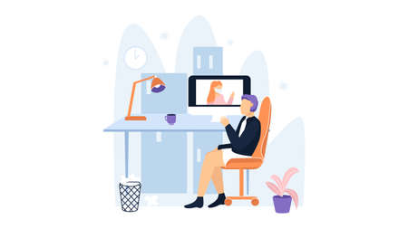 Man in underwear, shirt and tie on video call meeting. Quarantine Illustration