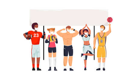 Athletes protest at a rally against restricting fan attendance at games in face masks during a coronavirus pandemic 向量圖像