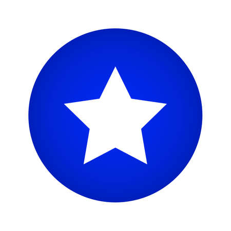 Star Icon. Star Button On a Blue Gradient Circle Shape Çizim