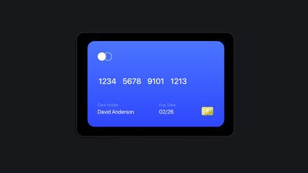 Flat Banking Card Digital Widget. UI Vector Illustration. Vector illustration