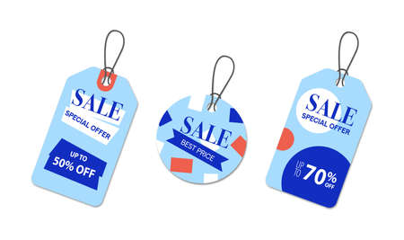 Sale Shopping Labels set. Handing tags for retail promo. Vector illustration