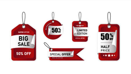 Set of hanging Sale Shopping Labels, tags, banners, Discount. Vector illustration