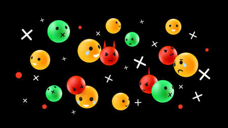 Green Yellow and Red Flowing Emoticons. Emotional Faces on Dark Background. Social Media Reactions Illustration. Vector illustration