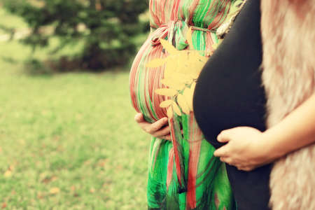 Two pregnant women hold belly with hands Stock Photo